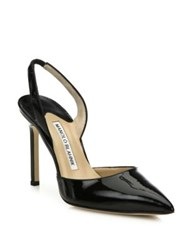 Manolo Blahnik Carolyne Patent Leather Slingback Pumps Black
