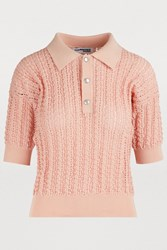 Courreges Textured Polo Shirt Baby Pink