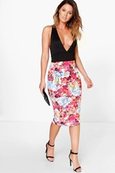 Boohoo Bright Floral Bodycon Midi Skirt Blue
