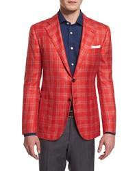 Kiton Cashmere Blend Plaid Sport Coat Red Men's