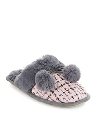 Kensie Faux Fur Lined Tweed Slippers Pink