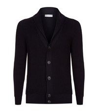 Gieves And Hawkes Ribbed V Neck Cardigan Male Navy