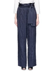 3.1 Phillip Lim Fringe Embroidered Stripe Wide Leg Pants Blue