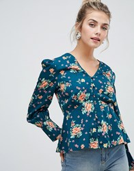 Influence Floral Blouse Green Floral