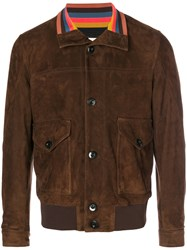 Paul Smith Bomber Jacket Men Leather L Brown