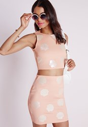 Missguided Shell Print Crop Top Nude