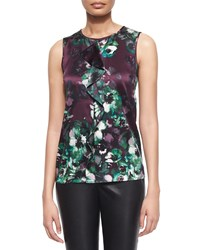 Petite Woodland Floral Print Ruffle Shell Mulberry Multi St. John Collection