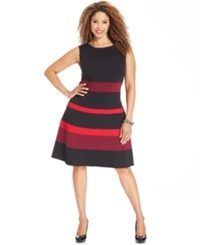 Ny Collection Plus Size Sleeveless Ponte Knit Colorblocked A Line Dress Red Multi