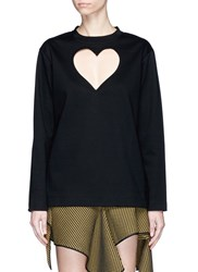 Proenza Schouler Cutout Heart Bonded Jersey Long Sleeve T Shirt Black