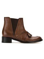 Sarah Chofakian Panelled Perforated Boots Brown