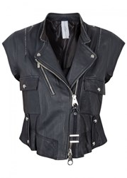 High Rowdy Cropped Leather Biker Gilet Black