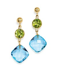 Bloomingdale's Peridot And Blue Topaz Drop Earrings In 14K Yellow Gold Green Blue