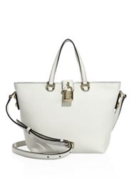 Dolce And Gabbana Small Leather Tote Blue Marine White Black