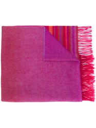 Paul Smith Ps By Striped Tassel Scarf Red