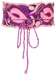 Figue Floral Embroidered Wrap Belt Pink And Purple