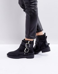 Pimkie Double Buckle Ankle Boots Black
