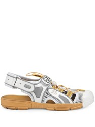 6847356cb94 Gucci Leather And Mesh Sandal White