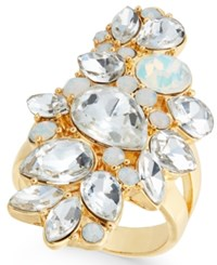 Inc International Concepts Gold Tone Crystal Cluster Ring Created For Macy's White
