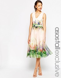 Asos Tall Salon Beautiful Floral Organza Prom Dress With Cutout Back Multi