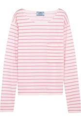 Prada Striped Cotton Jersey Top Pink