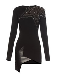 Anthony Vaccarello Leather Star Cut Out Jersey Dress