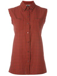 Diesel Sleeveless Plaid Shirt Red
