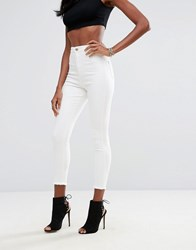 Missguided Vice High Waisted Super Skinny Ankle Grazer Jeans Off White
