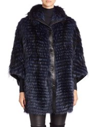 The Fur Salon Feathered Fox And Leather Cape Navy
