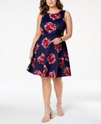City Triangles Trendy Plus Size Printed Fit And Flare Dress Navy Wine