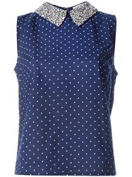 Manoush Embellished Collar Pindot Top Blue