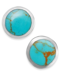 Macy's Manufactured Turquoise Stud Earrings In Sterling Silver 2 Ct. T.W.