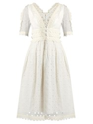Zimmermann Winsome Tea Broderie Anglaise Cotton Midi Dress Cream
