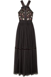 Needle And Thread Esther Bow Detailed Embellished Point D'esprit Tulle Gown Charcoal