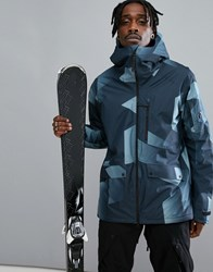 Peak Performance Hakuba Print Ski Jacket In Blue 992 Blue Steel P