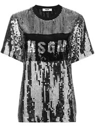 Msgm Sequin Logo T Shirt Black