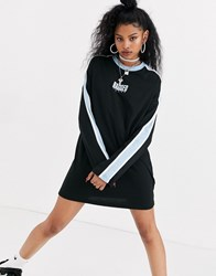 The Ragged Priest Relaxed T Shirt Dress With Front Logo And Contrast Stripe Black