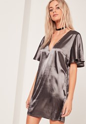 Missguided Kimono Sleeve Satin Shift Dress Grey