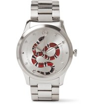 Gucci G Timeless Snake Dial 38Mm Stainless Steel Watch Silver