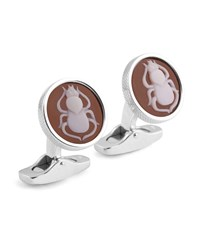 Ermenegildo Zegna Cameo Scarab Cuff Links W Seashell Gray Brown