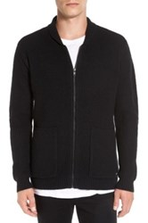 Rvca Zig Zag Waffle Knit Zip Shawl Collar Sweater Black