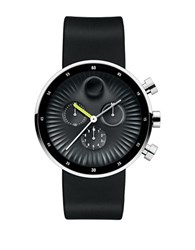 Movado Edge Stainless Steel And Silicone Strap Watch Black