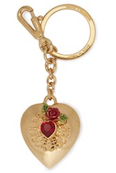 Dolce And Gabbana Gold Tone Crystal Enamel Keychain One Size