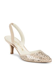Anne Klein Fabrizia Perforated Patent Leather Slingback Pumps Light Natural