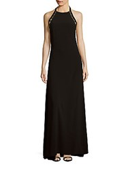 Halston Solid Embellished Halter Dress Black