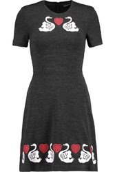 Markus Lupfer Embroidered Cotton And Wool Blend Stretch Jersey Mini Dress Charcoal