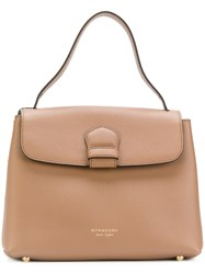 Burberry Flap Tote Bag Women Cotton Calf Leather One Size Nude Neutrals