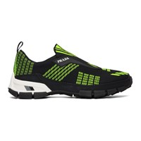 Prada Black And Green Crossection Slip On Sneakers
