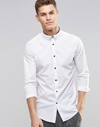 New Look Smart Shirt In White With Tie Pin In Regular Fit White
