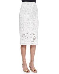 Rebecca Taylor Netted Lace Long Pencil Skirt White