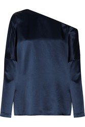 Tibi Asymmetric Silk Satin Blouse Navy